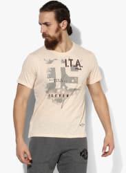 Arcade Beige Printed Round Neck T-Shirt