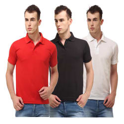Lime Combo of 3 Cotton Blend Men s Polo T-shirts, multicolor, m