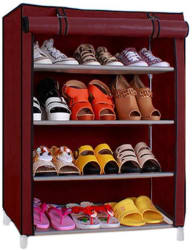Pindia 4 Layer Maroon Design Rack Organizer Polyester Collapsible Shoe Stand  (Maroon, 4 Shelves)