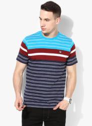 Exhibition Multicoloured Striped Round Neck T-Shirt