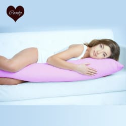 Pink Premium Coozly Body Pillow / Pregnancy Pillow with HQ Fibre and Zippered Cotton Cover (L15)