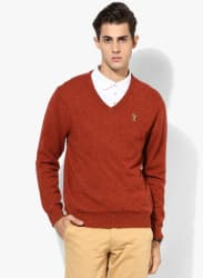 Rust Solid V Neck Sweater