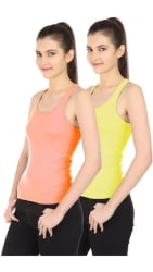 Friskers Peach Green Spaghetti,Camisole & Tank Top pack of 2