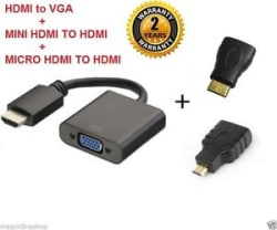 Details about 3 in1 HDMI to VGA + Mini + Micro HDMI to HDMI Convertor adaptor cable