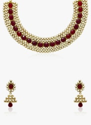 Golden/Maroon 100%Zinc Necklace Set