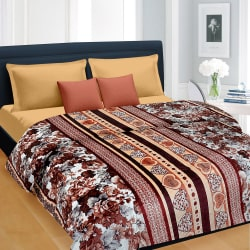 Cortina Floral Double Blanket Brown-013 (Coral Blanket, 1 Double size Coral Blanket), multicolor