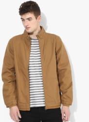 Khaki Solid Casual Jacket