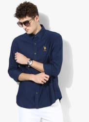 Blue Textured Regular Fit Casual Shirt
