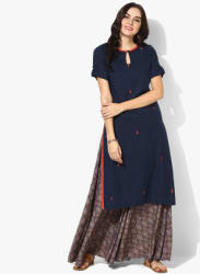 Keyhole Neck Buti Embroidered Straight Kurta With Flared Embroidered Palazzo