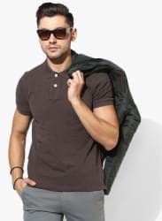 Coffee Solid Slim Fit Polo T-Shirt