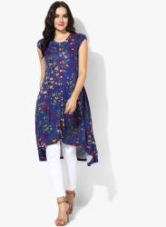 Band Collar Cap Sleeves Printed High Low Hem Tunic With Front Center Placket