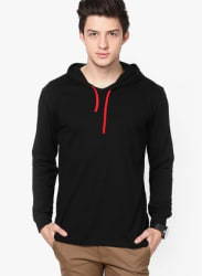 Black Solid Hooded T-Shirts