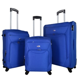Timus Upbeat Spinner Blue 4 Wheel Strolley Suitcase For Travel SET OF 3 ( Large Check-in Luggage)