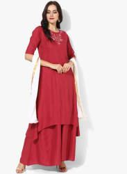 Round Neck High & Low Anarkali With Embroidery At Front Yoke Short Sleeves Pared With Palazzo And Kota Dupatta