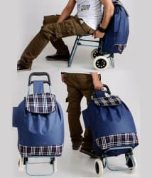 Kawachi Blue Trolley Duffle Bag With Chair