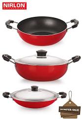 Nirlon Non-Stick Aluminium Cookware Set, 3-Pieces, Red (2.6mm_KD12_DKDM_CHATTI)