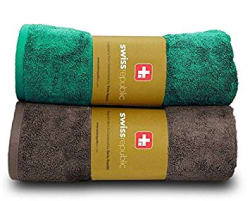 Swiss Republic Bath Towels Set- Signature collection 600 GSM made with 100% ring spun extra soft cotton with quick dry and double stitch line for extra long durability - set of 2 bath towels with 2 YEARS replacement GUARANTEE - Brown/Green