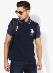 Navy Blue Solid Slim Fit Polo T-Shirt