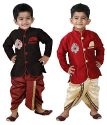 STYLOKIDS Partywear Black & Red Dhoti Kurta Set-Pack of 2
