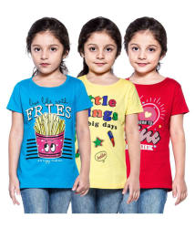 Stay Little Girls Half Sleeve Multicolour Tops - Pack of 3