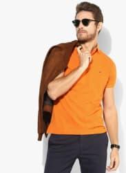 Orange Solid Regular Fit Polo T-Shirt
