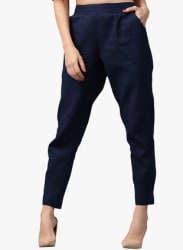 Navy Blue Solid Coloured Pants