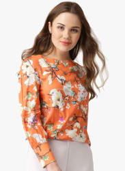 Orange Printed Blouse