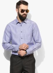 Blue Textured Slim Fit Formal Shirt