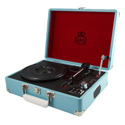 GPO Attache Portable Vinyl Turntable (Blue)
