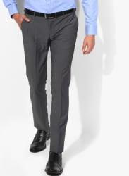 Grey Solid Slim Formal Trouser