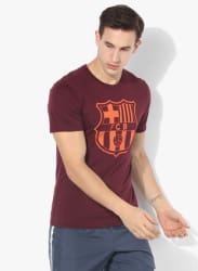 As Fcb Crest Maroon Football Round Neck T-Shirt