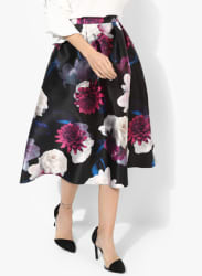 Multicoloured Printed Flared Skirt
