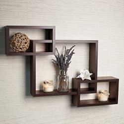 Driftingwood Wall Shelf Rack Set of 3 Intersecting Wall Shelves - Brown