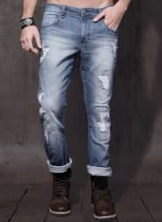 Blue Mid Rise Washed Regular Fit Jeans
