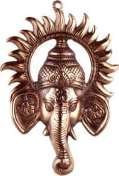 Advitiya Black Metal Ganesh Ji face Encircled With Suraj Ji Showpiece - 30 cm (Brass, Copper)