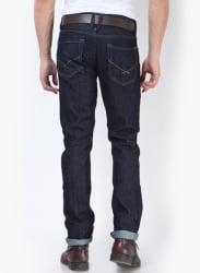 Zip Fly Navy Blue Slim Fit Jeans