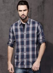 Blue & Grey Regular Fit Checked Casual Shirt