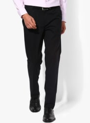 Black Solid Slim Fit Formal Trouser