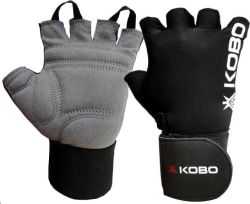 Kobo Weight Lifting with wrist support Gym & Fitness Gloves (L, Black)