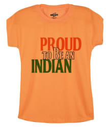 Snoby Girls PROUD TO BE AN INDIAN Round Neck Orange Casual Printed Shirt