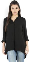 Vero Moda Casual 3/4th Sleeve Solid Women Black Top