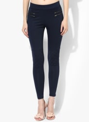 Navy Blue Solid Jeggings
