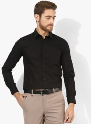 Black Solid Regular Fit Formal Shirt
