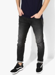 Dark Grey Washed Low Rise Slim Fit Jeans