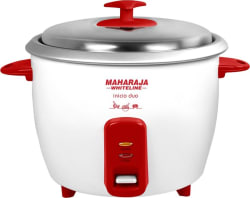 Maharaja Whiteline Inicio DUO (RC -102) Electric Rice Cooker with Steaming Feature (1.8 L, White, Red)