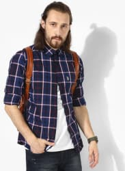 Navy Blue Checked Straight Fit Casual Shirt