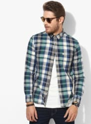Multicoloured Checked Slim Fit Casual Shirt