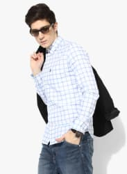 White Checked Regular Fit Casual Shirt