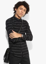 Black Striped Slim Fit Casual Shirt
