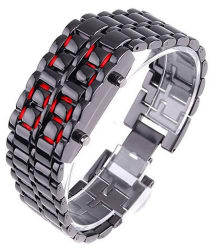 JM Black Metal LED Faceless Bracelet Watch For Kids